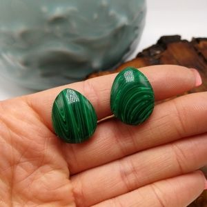 🌵 CLIP-ON vintage egg malachite oval gemstone